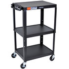 "Luxor AVJ42 Black 3 Shelf A/V Utility Cart 24"" x 18"" - Adjustable Height"