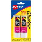 Avery 00171 GlueStic 0.26 oz. White Washable Nontoxic Permanent GlueStick - 2/Pack