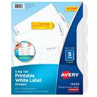 Avery 14432 Big Tab 5-Tab White Paper Easy Peel Label Divider Set   - 4/Pack