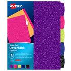 Avery 24928 Big Tab 5-Tab Multi-Color / Glitter Reversible Fashion Divider Set