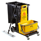 Lavex Janitorial Black Janitor Cart and Microfiber Wet Mop Kit