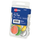 Avery 11020 1 1/4 inch Assorted Color Paper with Metal Rim Split Ring Key Tag - 25/Pack