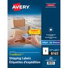 Avery 08165 TrueBlock 8 1/2 inch x 11 inch White Permanent Inkjet Shipping Label - 25/Pack