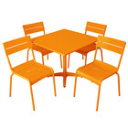 BFM Seating YK-B32CT Beachcomber 32 inch Square Citrus Aluminum Outdoor Table with 4 Chairs