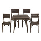 BFM Seating YL-BR36S Bayview 36 inch Square Bronze Aluminum / Brown Synthetic Teak Outdoor Table with 4 Chairs