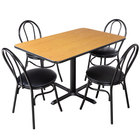 Lancaster Table & Seating 30 inch x 48 inch Reversible Walnut / Oak Standard Height Dining Set
