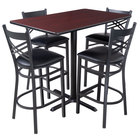 Lancaster Table & Seating 30 inch x 48 inch Reversible Cherry / Black Bar Height Dining Set