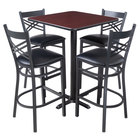 Lancaster Table & Seating 30 inch x 30 inch Reversible Cherry / Black Bar Height Dining Set