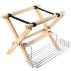 Tablecraft Natural Finish Mini Table Tray Stand with Stainless Steel Accessory Rack