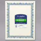 Geographics 39087 8 1/2 inch x 11 inch Pack of 24# Parchment Certificate Paper with Gold Seal and Blue Border - 25 Sheets