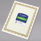 Geographics 39451 8 1/2 inch x 11 inch White Pack of 24# Certificate Paper with Gold Optima Border - 25 Sheets