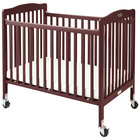 L.A. Baby CW-883A The Little Wood Crib 24 inch x 38 inch Cherry Mini / Portable Folding Wood Crib with 3 inch Vinyl Covered Mattress