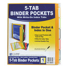 C-Line Products 06650 9 11/16 inch x 11 3/16 inch Assorted Color Binder Pocket with Write-On Index Tab - 5/Set