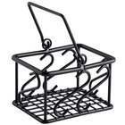 American Metalcraft SBS533 3 1/2 inch x 2 3/4 inch Scroll Wrought Iron Sugar Packet Caddy