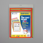 """C-Line 43920 9"""" x 12"""" Assorted Neon Color Stitched Shop Ticket Holder with 75 Sheet Capacity - 10/Pack"""