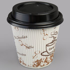 Choice 8 oz. Sleeveless Bean Print Paper Hot Cup and Lid - 100/Pack
