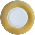 Bon Chef 200001G Tavola 13 inch Gold Diamond Rim Glass Charger Plate