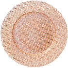 Bon Chef 200009RG Tavola 13 inch Rose Gold Gem Glass Charger Plate