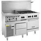 Vulcan 60RS-24GT6B Endurance 60 inch Liquid Propane Range with 6 Burners, 24 inch Thermostatic Griddle, Standard Oven, and Refrigerated Base - 220,000 BTU