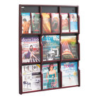 """Safco 5702MH Expose 29 3/4"""" x 2 1/2"""" x 38 1 /4"""" Mahogany/Black 9 Compartment Literature Display with Removable Dividers"""