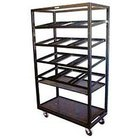 Winholt DR-2143 Red 43 inch x 21 inch Merchandiser Rack with Four Slanted Shelves and Flat Bottom Shelf