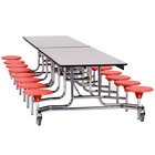 National Public Seating MTS1216-MDPEPC 12' Mobile MDF Cafeteria Table with Black Powder Coated Frame, ProtectEdge, and 16 Stools