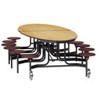 National Public Seating METS-PBTMCR 10' Elliptical Mobile Particleboard Cafeteria Table with Chrome Frame, T-Mold Edge, and 12 Stools