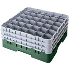Cambro 36S1214119 Sherwood Green Camrack Customizable 36 Compartment 12 5/8 inch Glass Rack