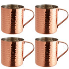 Acopa Alchemy 14 oz. Straight Sided Hammered Copper Moscow Mule Mug - 4/Pack