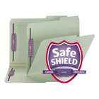 Smead 14920 Letter Size File Folder - Standard Height with SafeSHIELD Fasteners, Gray / Green - 25/Box