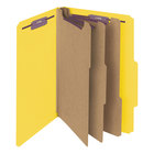 Smead 19098 Legal Size Yellow Pressboard 3 Divider Classification Folder with SafeSHIELD Fasteners - 10/Box
