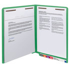 Smead 25150 WaterShed / CutLess Letter Size File Folder with Prong Fasteners - Standard Height with Straight Cut End Tab, Green - 50/Box