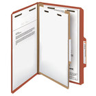 Smead 18723 Legal Size Red Pressboard 1 Divider Classification Folder - 10/Box
