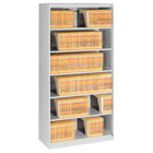 "Tennsco FS360LGY Light Gray Open Fixed 6-Shelf Lateral File Cabinet - 36"" x 16 1/2"" x 75 1/4"""