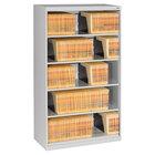 "Tennsco FS350LGY Light Gray Open Fixed 5-Shelf Lateral File Cabinet - 36"" x 16 1/2"" x 63 1/2"""