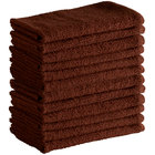 Choice 16 inch x 19 inch Brown 24 oz. 100% Cotton Ribbed Terry Bar Towel - 12/Pack