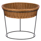 Natural Round Poly-Line Merchandising Basket with Metal Riser - 14 3/4 inch X 10 1/2 inch
