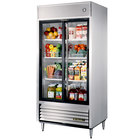 True TSD-33G-LD Two Section Sliding Glass Door Reach In Refrigerator with LED Lighting - 33 Cu. Ft.