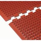 "Cactus Mat 4420-RCWB VIP Duralok 3' 2"" x 5' 1"" Red Center Interlocking Grease-Resistant Anti-Fatigue Anti-Slip Floor Mat with Beveled Edge - 3/4"" Thick"