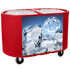 IRP Red Texas Tanker 1060 Portable Insulated Ice Bin / Beverage Cooler / Merchandiser with Two Compartments 256 Qt.