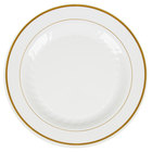WNA Comet MP10IPREM 10 1/4 inch Ivory Masterpiece Plastic Plate with Gold Accent Bands   - 12/Pack