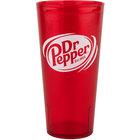 GET 6624-R-DR Dr. Pepper® Textured 24 oz. Red SAN Plastic Tumbler - 72/Case