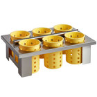 Steril-Sil E1-BS6OE-YELLOW Stainless Steel 6-Cylinder Drop-In Flatware Basket with Yellow Plastic Cylinders