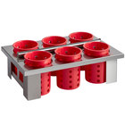 Steril-Sil E1-BS6OE-RED Stainless Steel 6-Cylinder Drop-In Flatware Basket with Red Plastic Cylinders