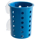 Steril-Sil PN1-BLUE Blue Perforated Plastic Flatware Cylinder with Suction Cups