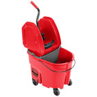 Rubbermaid WaveBrake® 35 Qt. Red Mop Bucket with Down Press Wringer and Gray Dirty Water Bucket