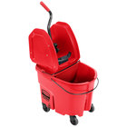 Rubbermaid WaveBrake® 35 Qt. Red Mop Bucket with Down Press Wringer and Red Dirty Water Bucket