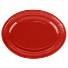 Tuxton CQH-136 Concentrix 13 3/4 inch x 10 1/2 inch Cayenne Oval China Platter - 6/Case