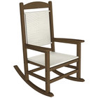 POLYWOOD R200FTEWL White Loom Presidential Woven Rocking Chair with Teak Frame
