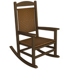 POLYWOOD R200FTETW Tigerwood Presidential Woven Rocking Chair with Teak Frame